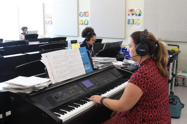 Piano Students Practicing in the Piano Lab