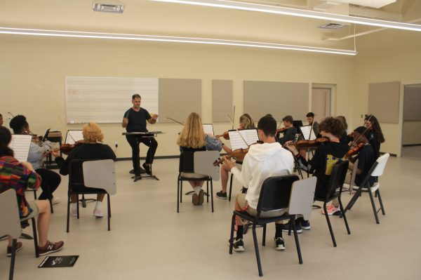 Strings Orchestra Students Playing Music